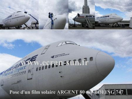 Teinte de vitrages d'un Boeing 747 par Ecran Sun