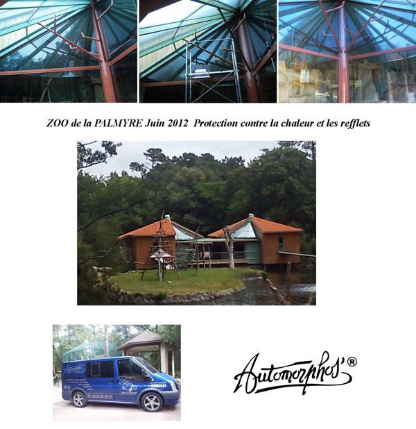Pose de film vitre teintée de protection solaire pour un Zoo en Charente Maritime