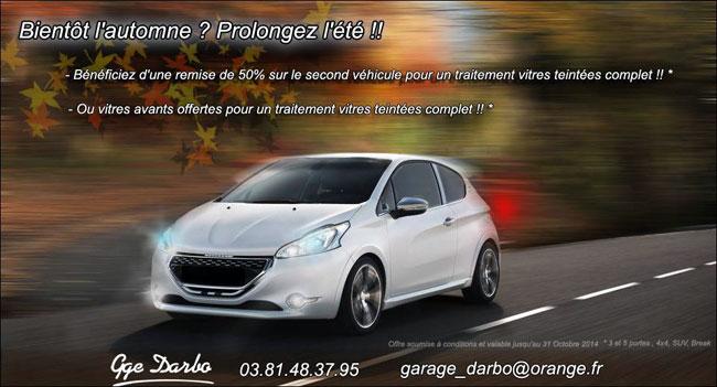 Promotion pour les vitres teintées d'un voiture